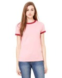 B6050 Bella + Canvas Ladies' Jersey Short-Sleeve Ringer T-Shirt